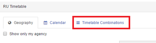 Timetable combinations button