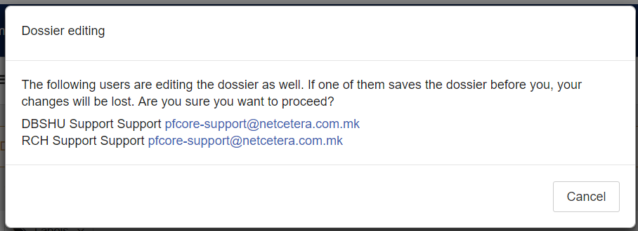 Dossier editing users
