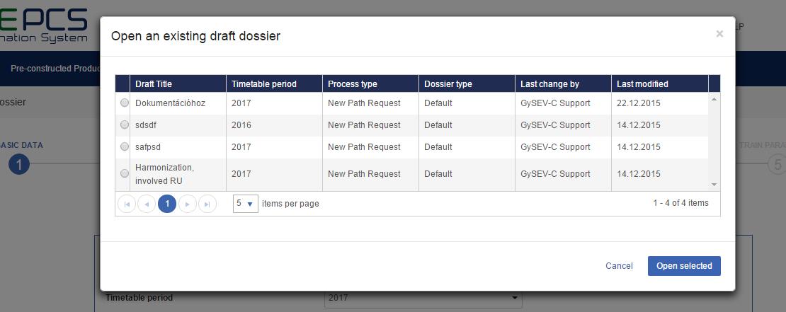 Draft dossier list