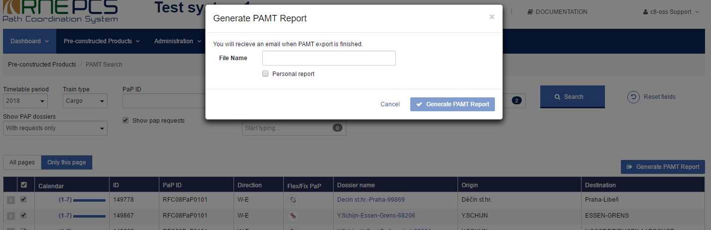 PAMT report generation