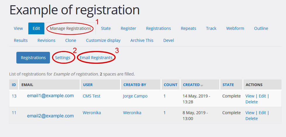 manage registrations