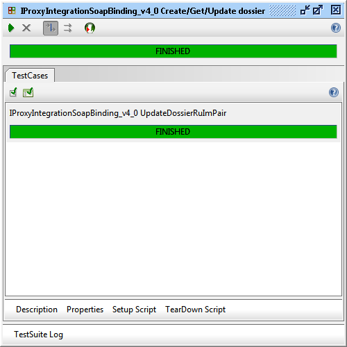 """Result of """"IProxyIntegrationSoapBinding_v4_0 Create/Get/Update dossier"""" execution"""