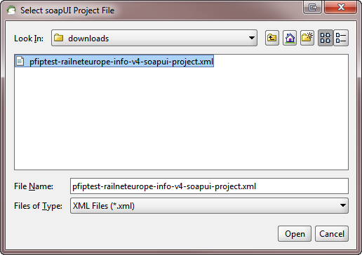 Select PCS soapUI project file