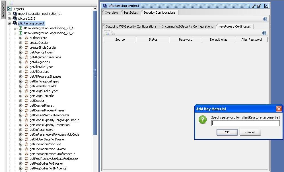 soapUI project keystore password input