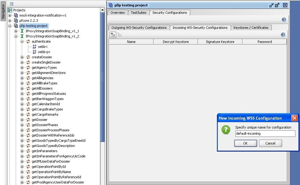 soapUI project new Incoming WSS configuration