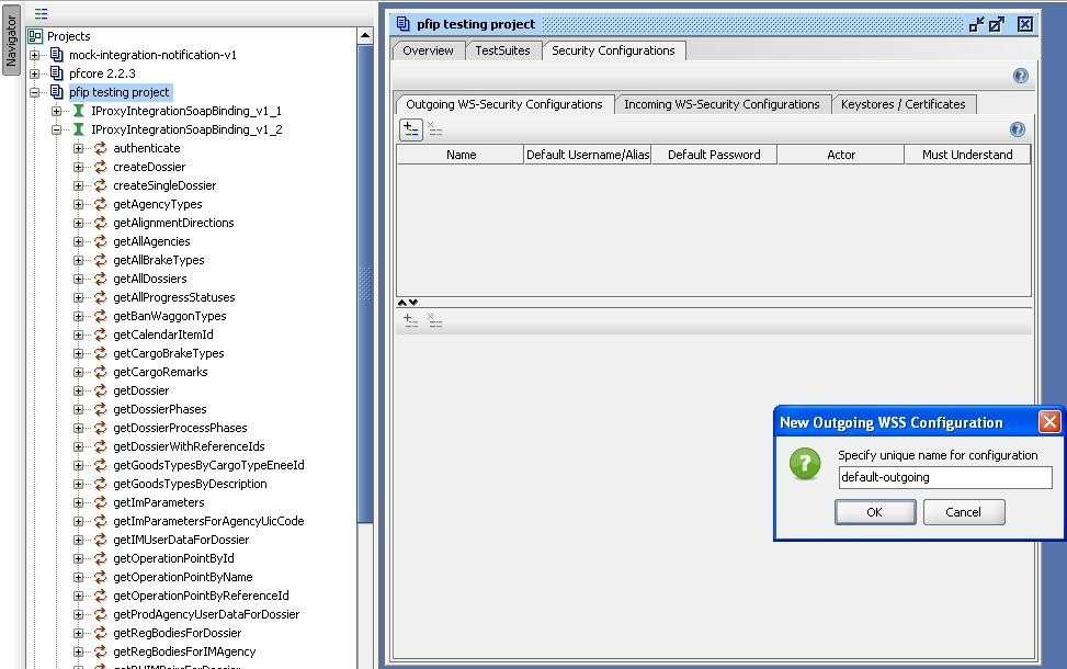 soapUI project new outgoing WSS configuration