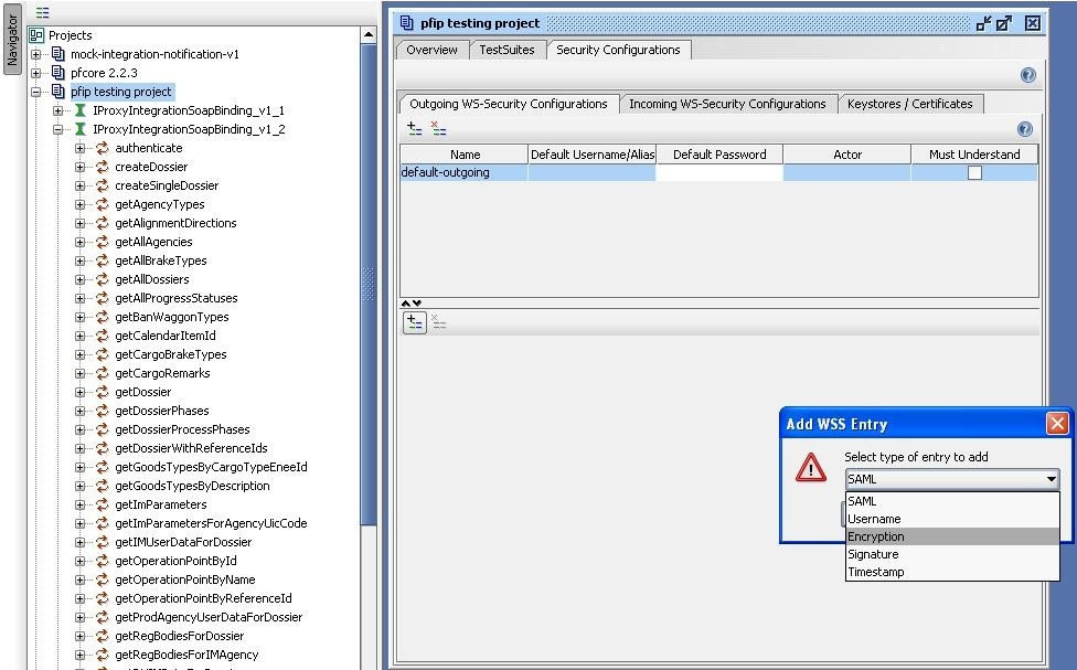 soapUI project WSS entry type selection