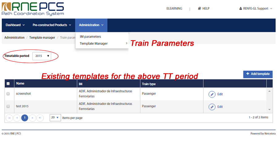 Template Manager for Train Parameters