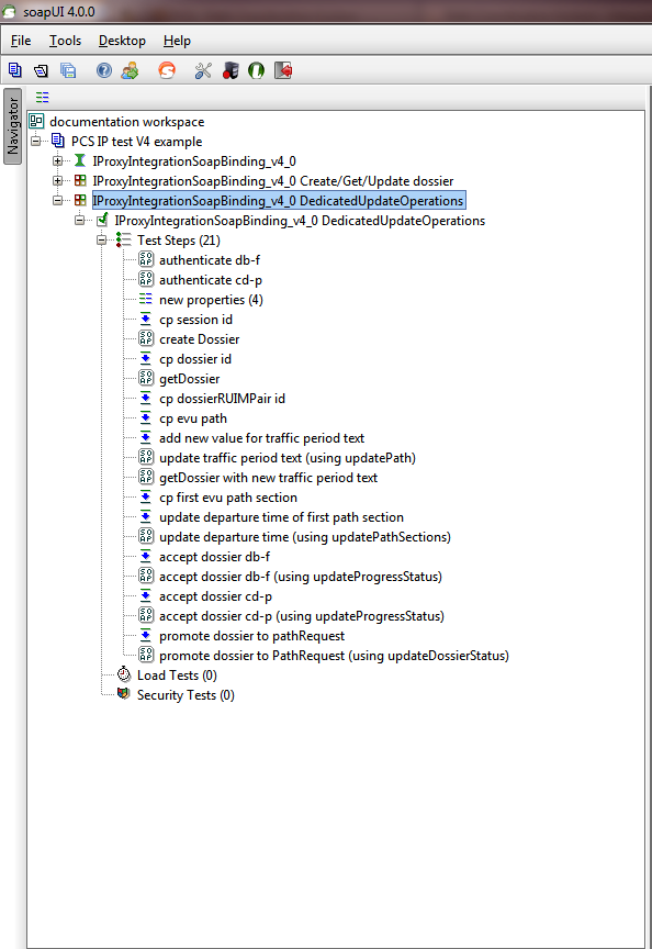 Test suite for create get and update dossier using dedicated update operations (updatePath, updatePathSections, updateProgressStatus, updateDossierStatus).