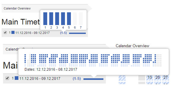 Calendar and running day preview tooltips