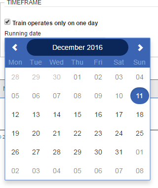 Train operates only on one day