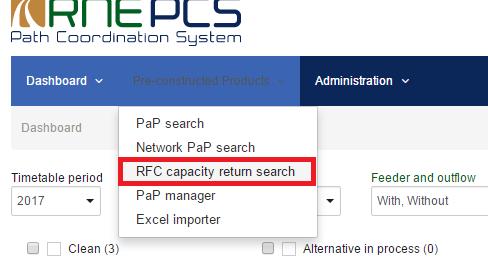 RFC capacity return search